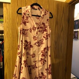 Pink With Maroon flowers. Size LG pre owned